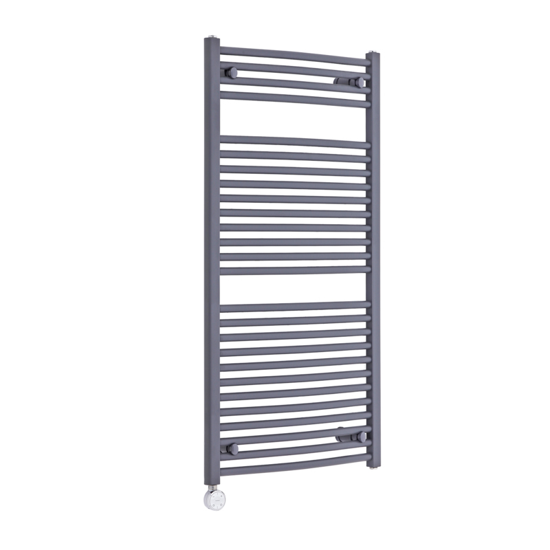 Milano Brook Electric - Anthracite Curved Heated Towel Rail 1200mm x 600mm