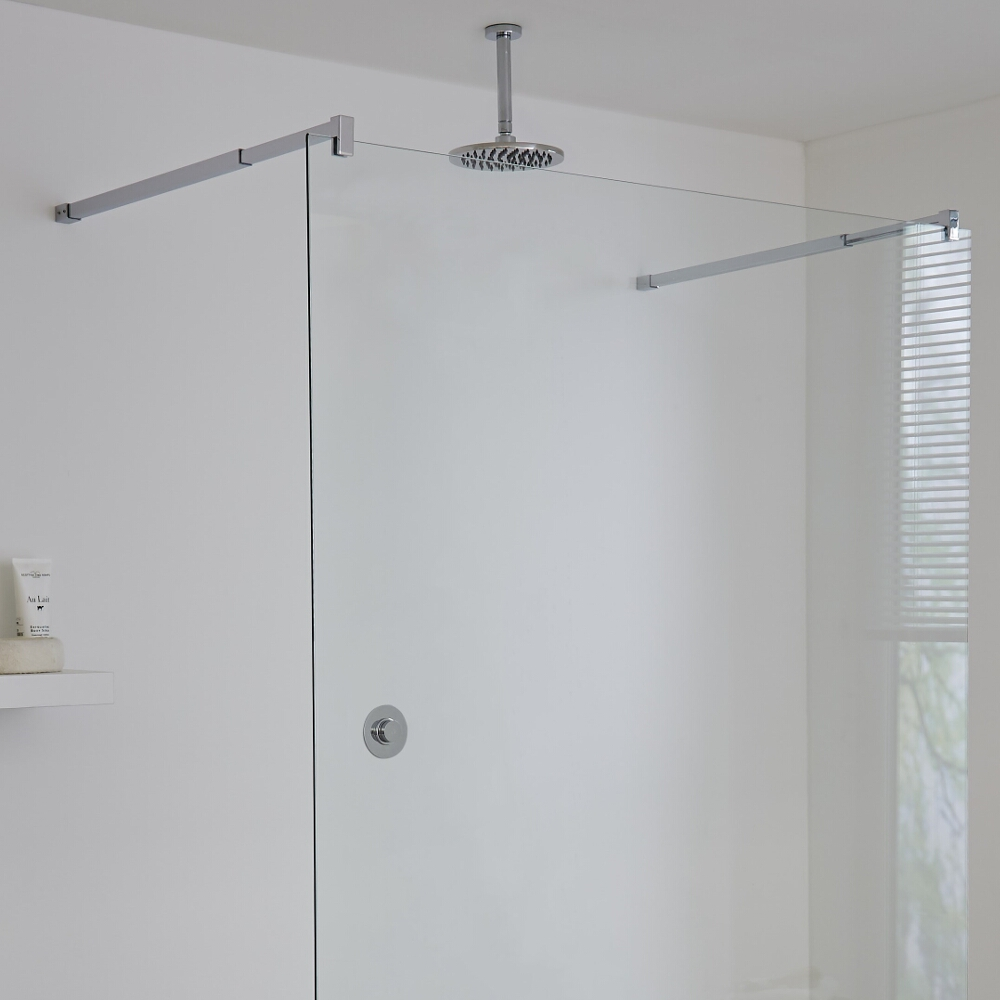 Milano Vis One Outlet Digital Thermostatic Shower with Round Ceiling Mounted Shower Head 200mm