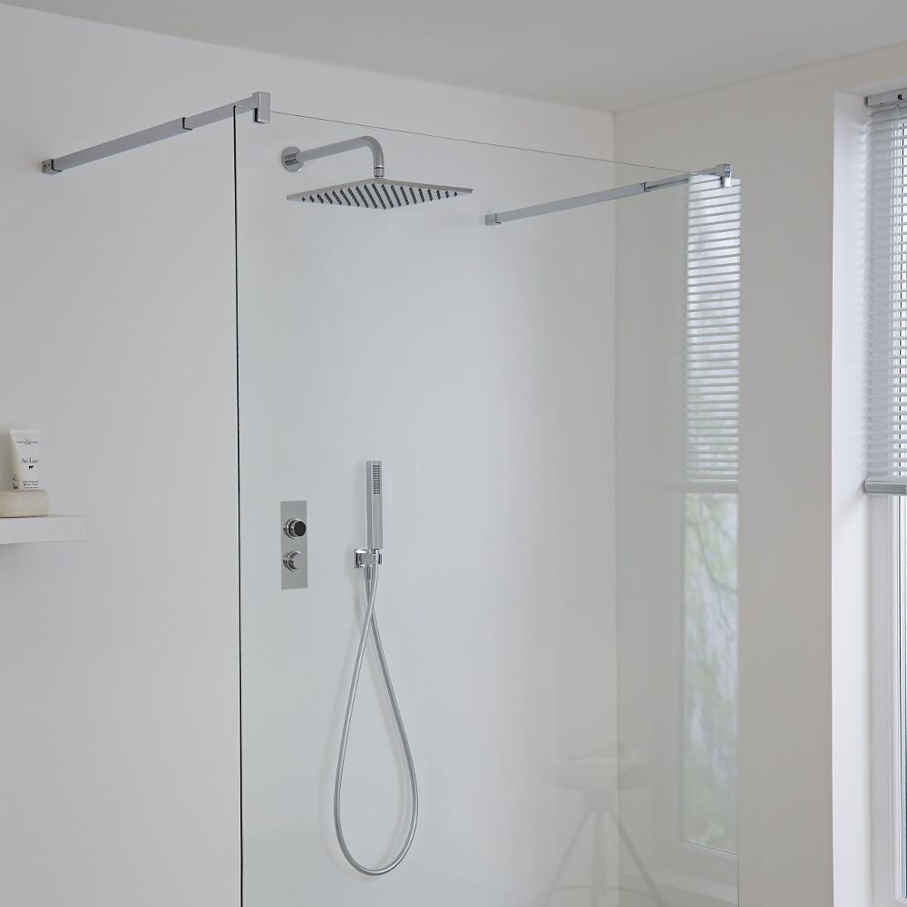 Milano Vis Two Outlet Digital Thermostatic Shower with Square Wall Mounted Shower Head