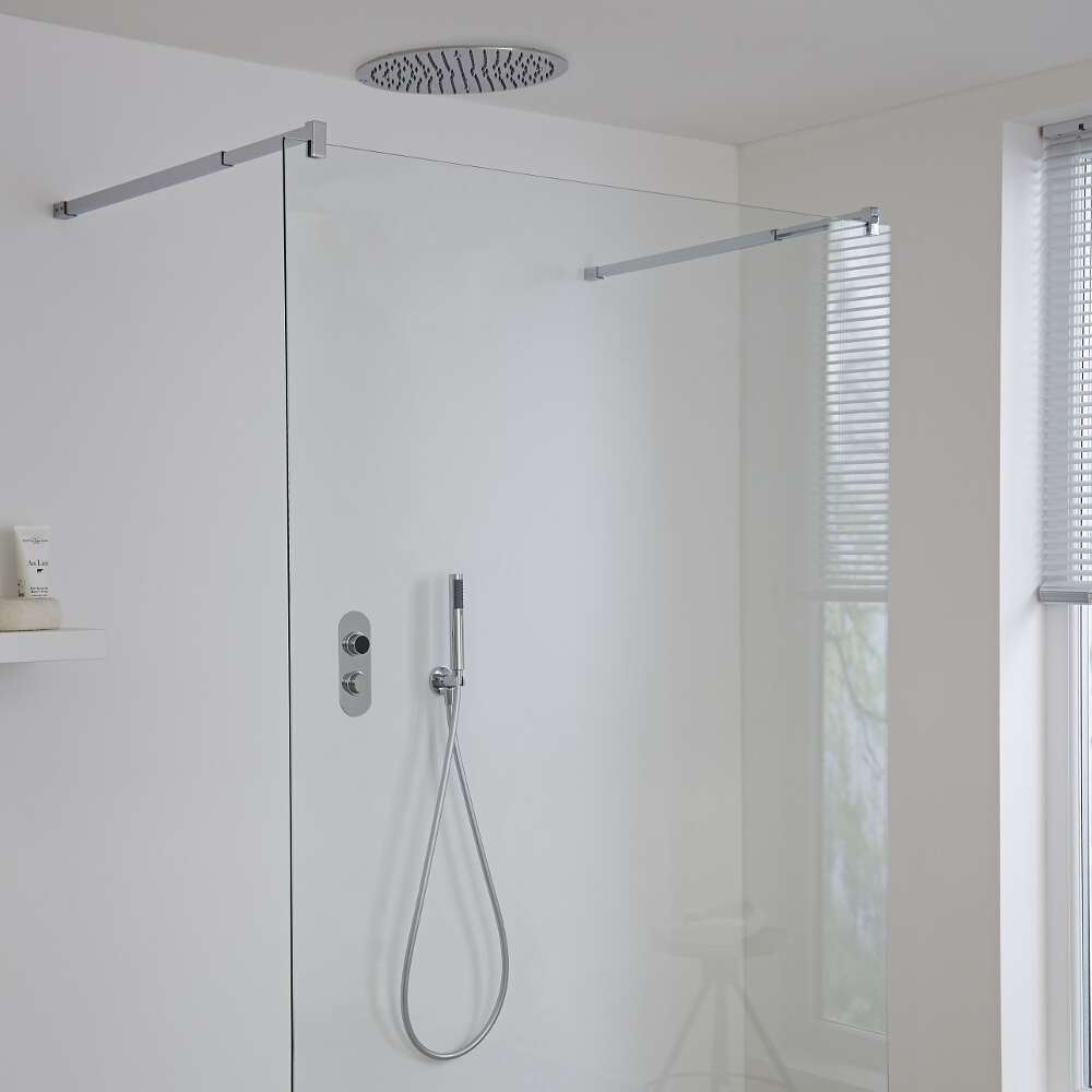 Milano Vis Two Outlet Digital Thermostatic Shower with Round Recessed Shower Head
