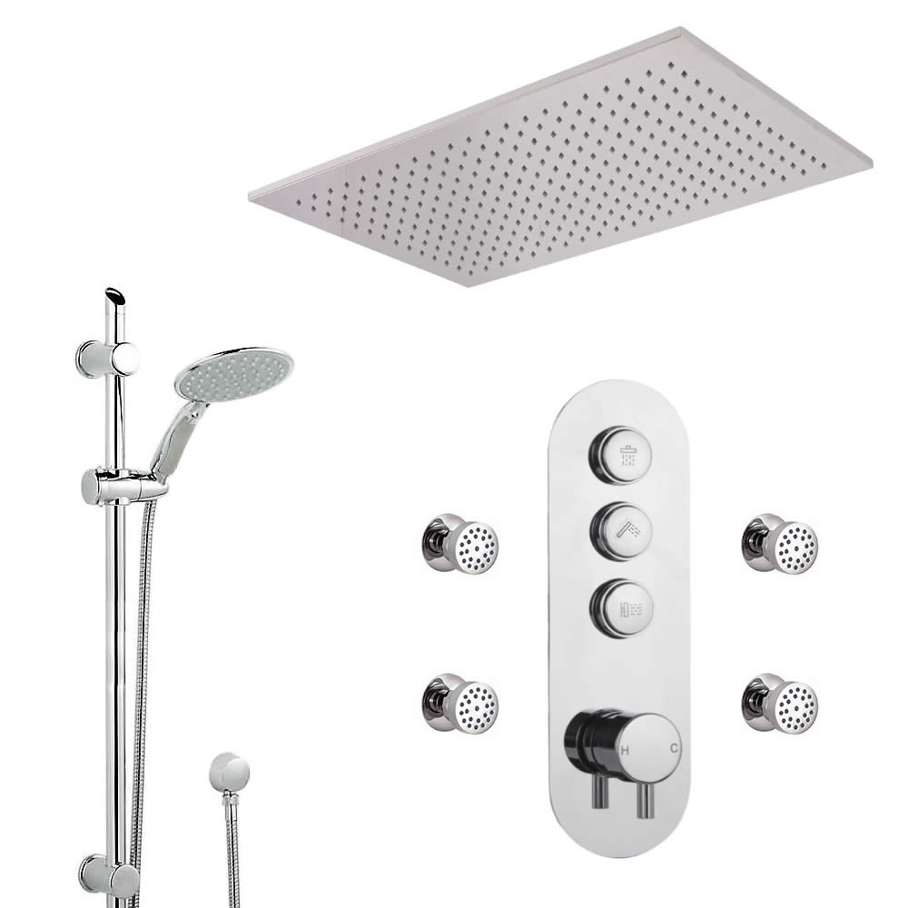 Milano Orta - 3 Outlet Push Button Shower Valve, Slide Rail Kit, Body Jets and Recessed Shower Head