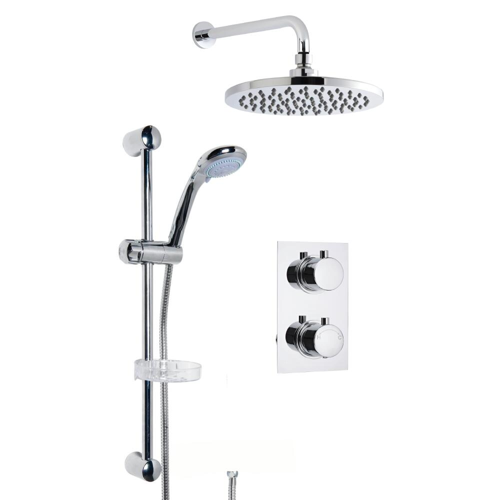 Milano Round Concealed Thermostatic Shower with Wall Mounted Head and Slide Rail Kit