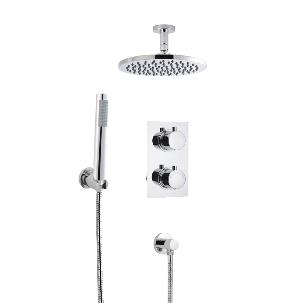Milano Round Concealed Thermostatic Shower with Ceiling Mounted Head and Hand Shower