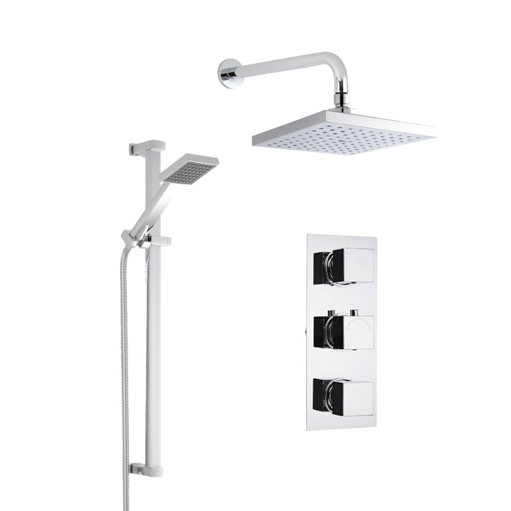 Milano Square Concealed Thermostatic Shower with Wall Mounted Head and Slide Rail Kit