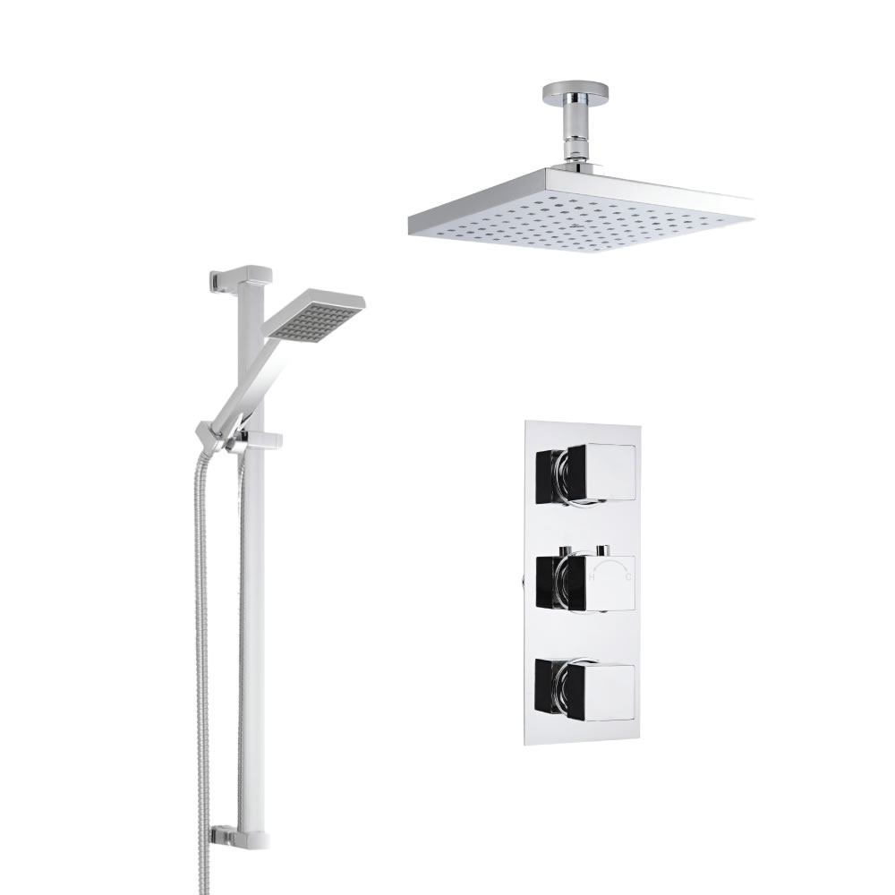 Milano Square Concealed Thermostatic Shower with Ceiling Mounted Head and Slide Rail Kit