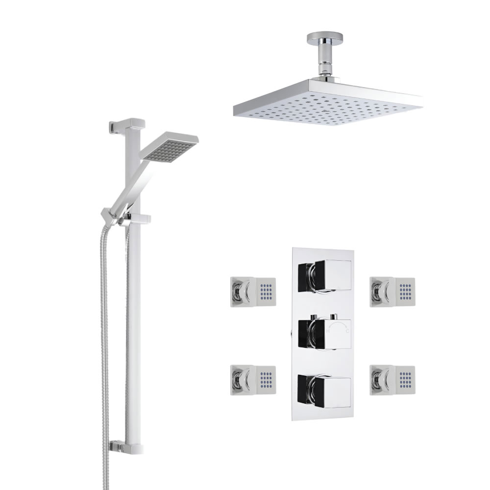 Milano Square Thermostatic Shower with Ceiling Mounted Head, Slide Rail Kit and Body Jets