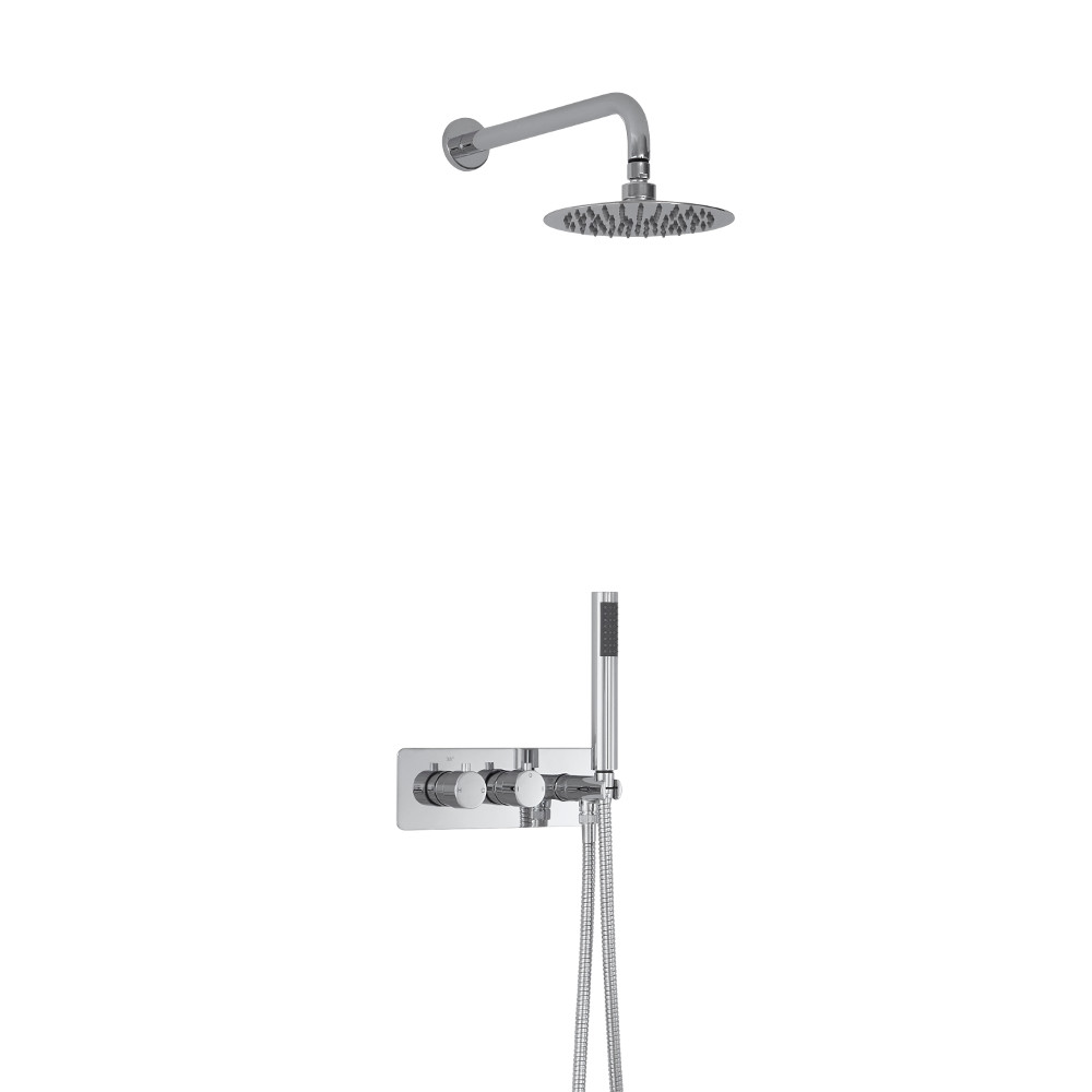 Milano Mirage Round Twin Diverter Thermostatic Shower Valve with Handset and 200mm Head