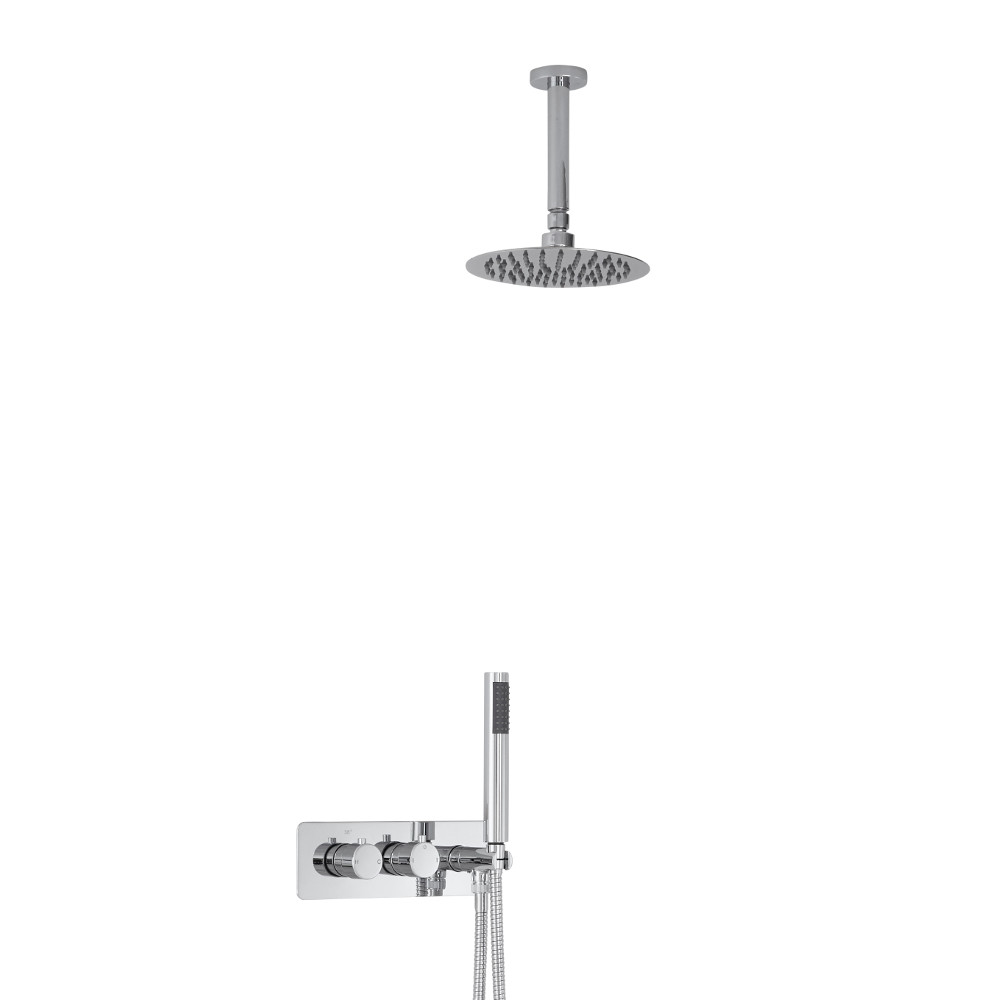 Milano Mirage Round Twin Diverter Thermostatic Shower Valve with Handset and 200mm Ceiling Head