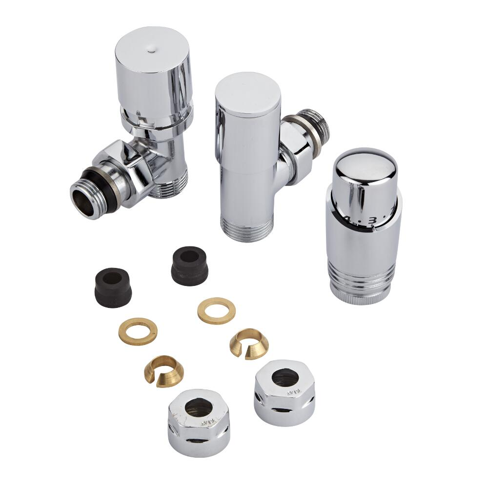 Milano Chrome 3/4'' Male Thread Valve with Chrome TRV & 12mm Copper Adaptors