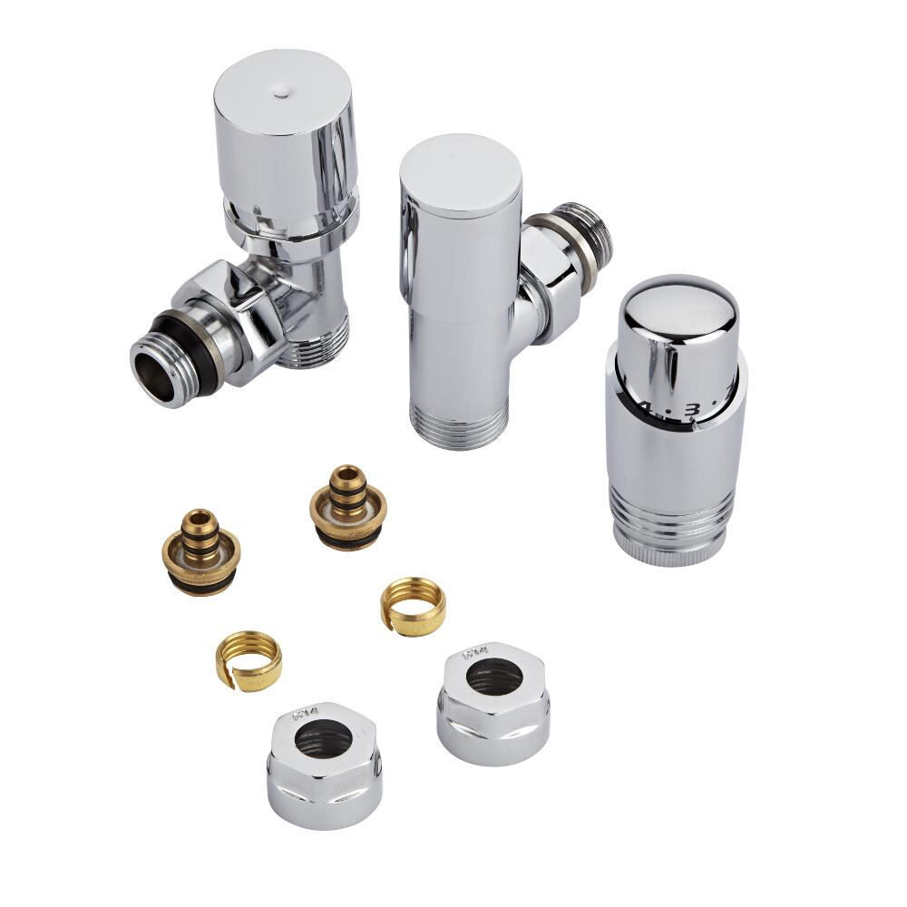Milano Chrome 3/4'' Male Thread Valve with Chrome TRV & 14mm Multi Adaptors