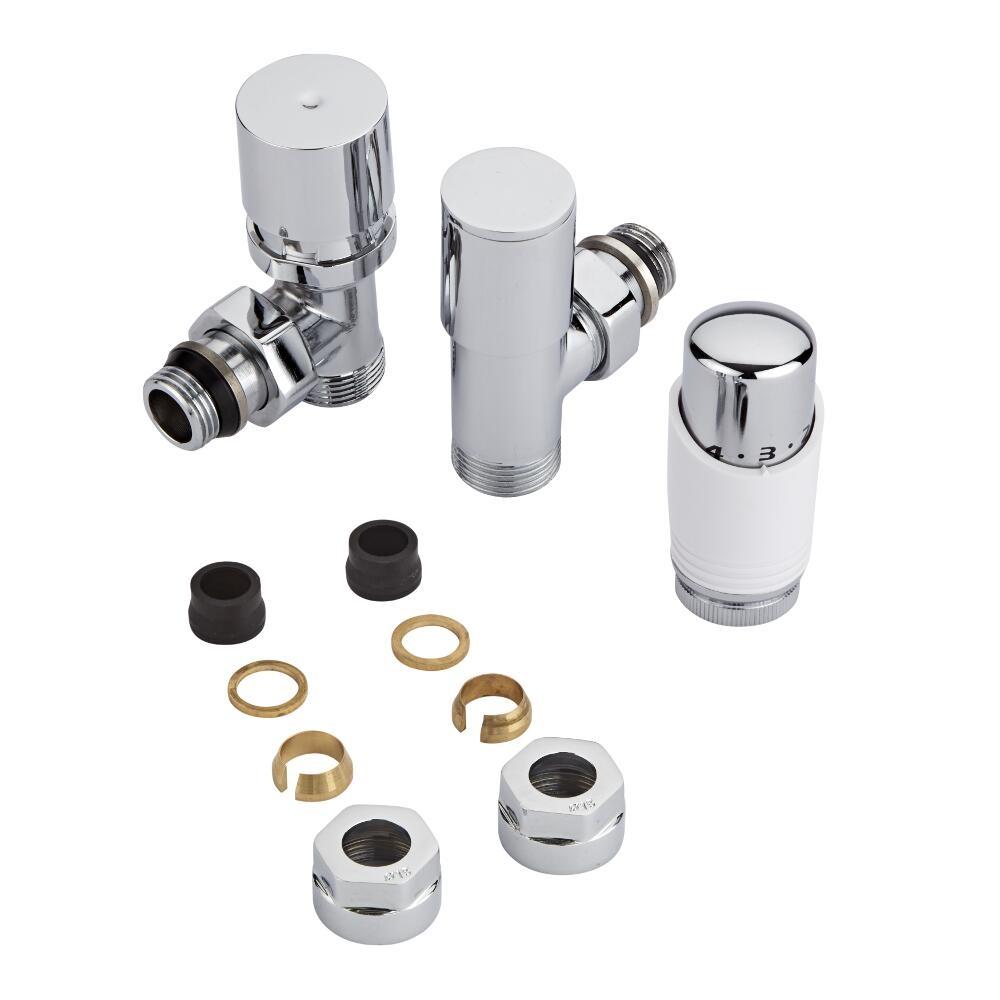 Milano Chrome 3/4'' Male Thread Valve with White TRV & 15mm Copper Adaptors