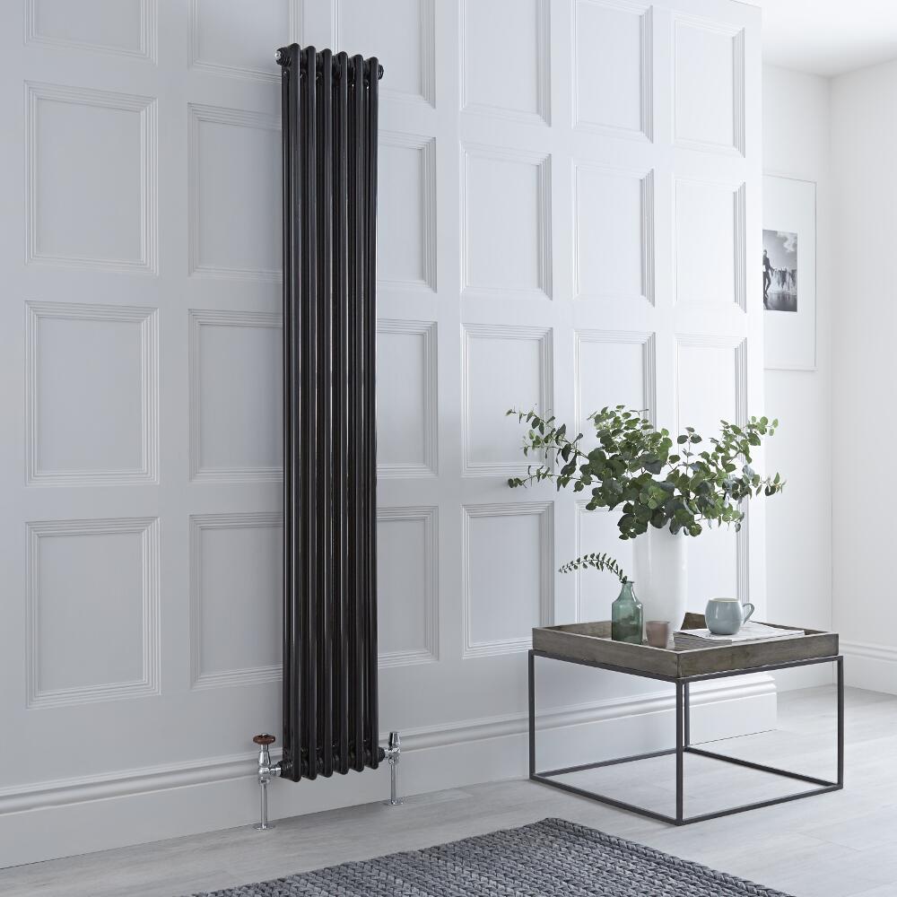 Milano Windsor - Traditional 6 x 2 Column Radiator Cast Iron Style High Gloss Black 1800mm x 293mm