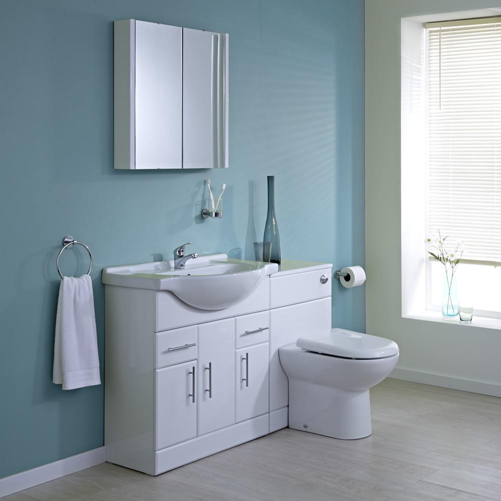 Milano 750mm White Gloss Furniture Sink & Toilet Set