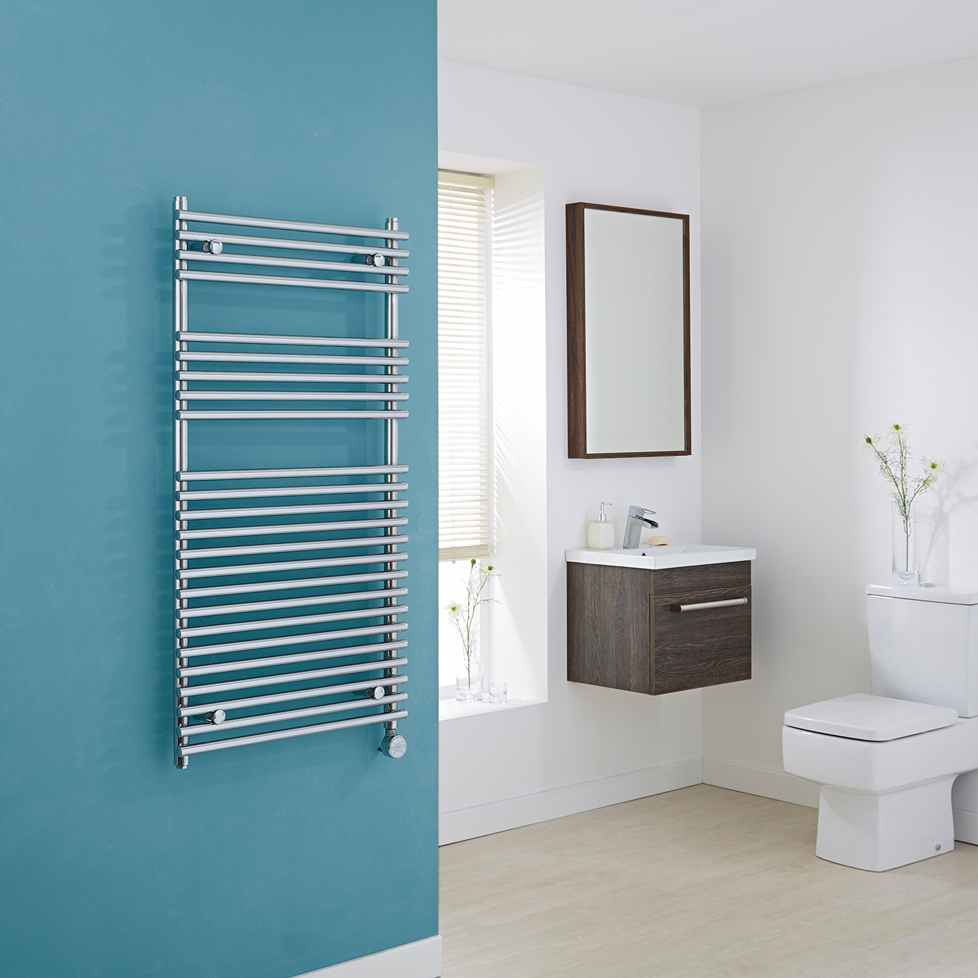 Kudox Electric - Flat Chrome Bar on Bar Towel Rail 1150mm x 600mm