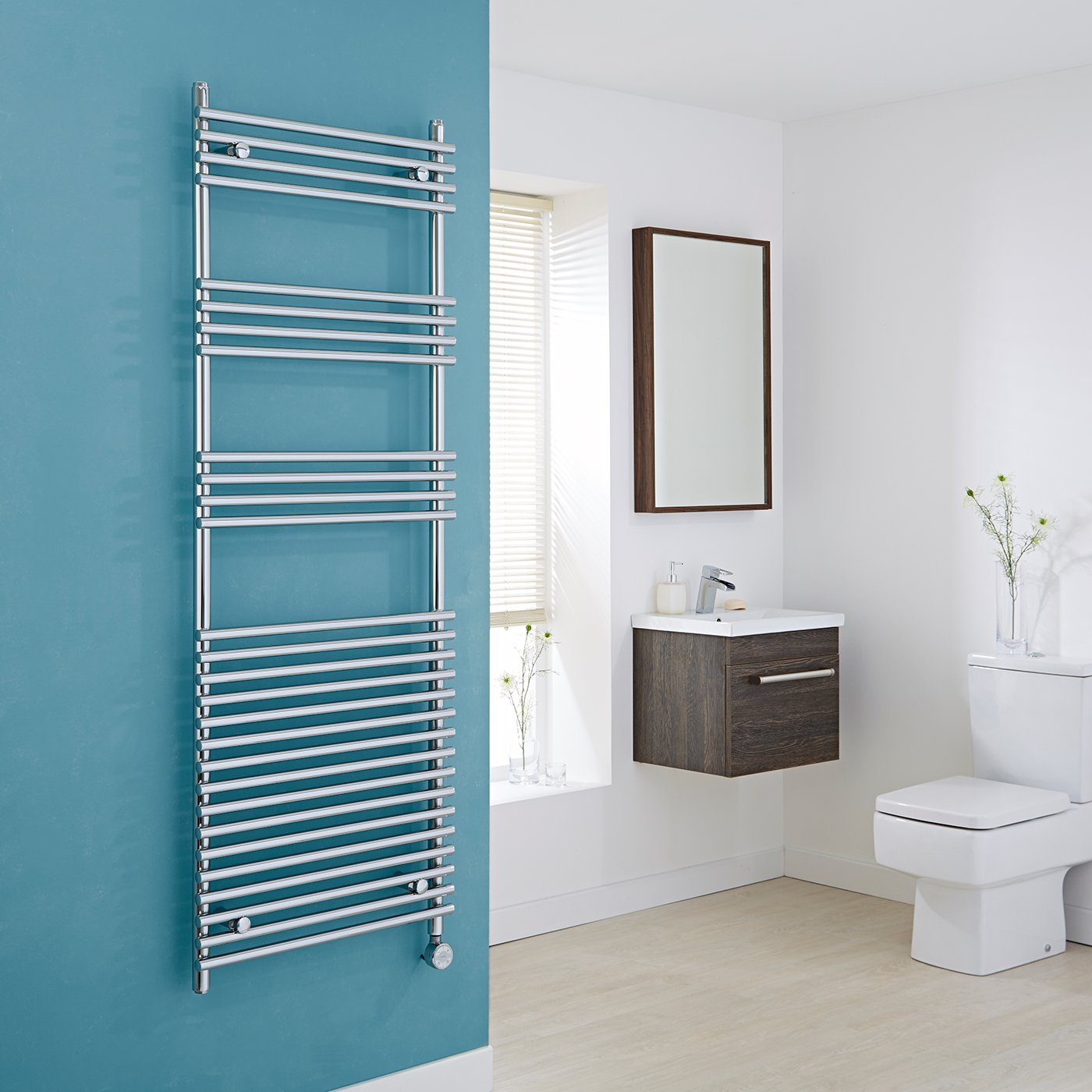 Kudox Electric - Flat Chrome Bar on Bar Towel Rail 1650mm x 600mm