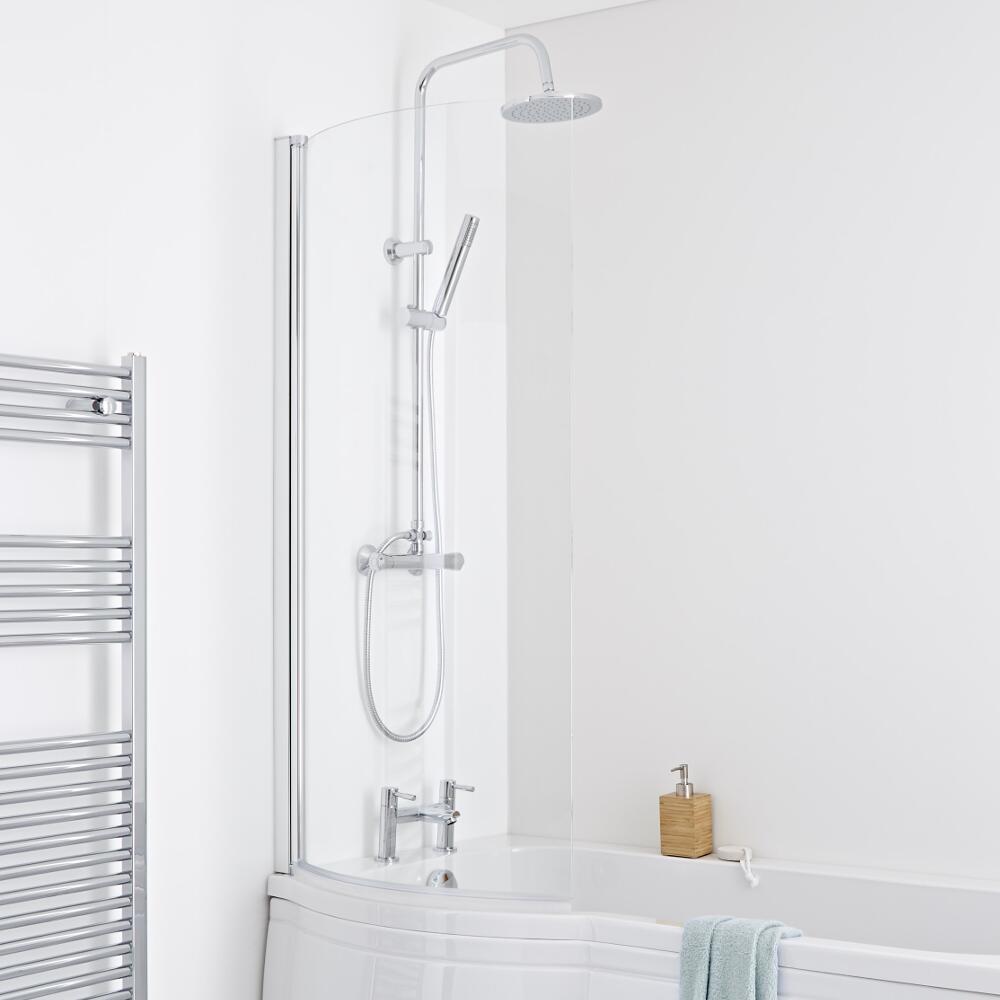 Milano Portland Curved Shower Bath Screen 6mm Glass