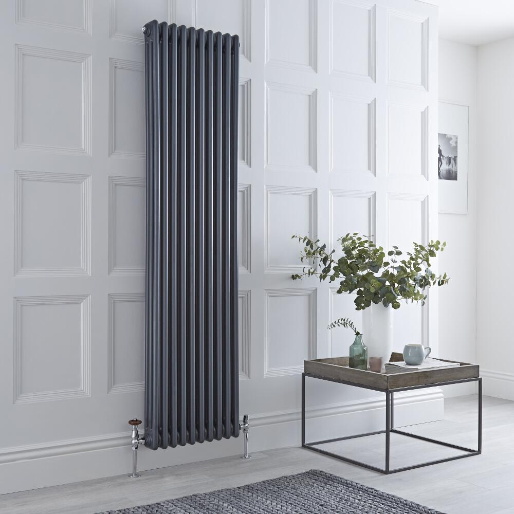 Milano Windsor - Traditional Anthracite 3 Column Radiator 1800mm x 450mm (Vertical)