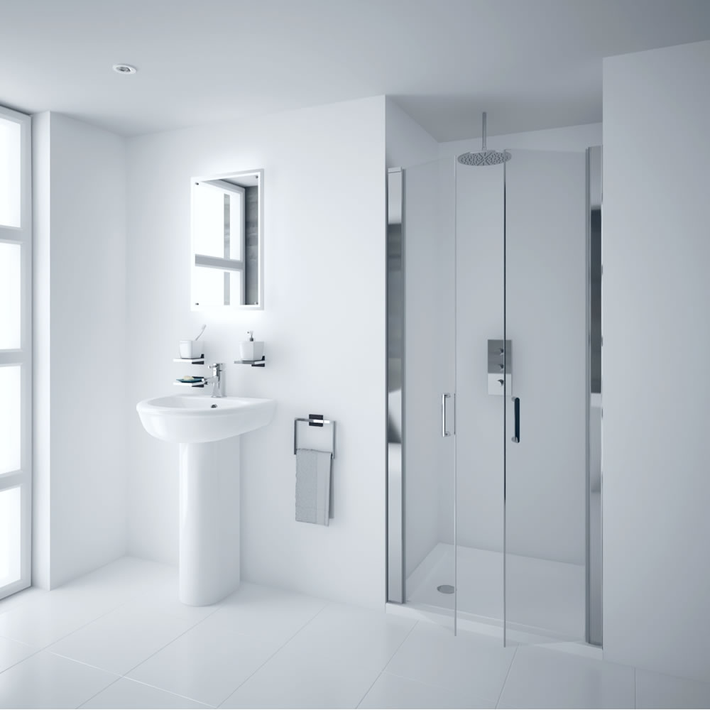 Milano Portland 1000mm Double Hinged Shower Door 6mm