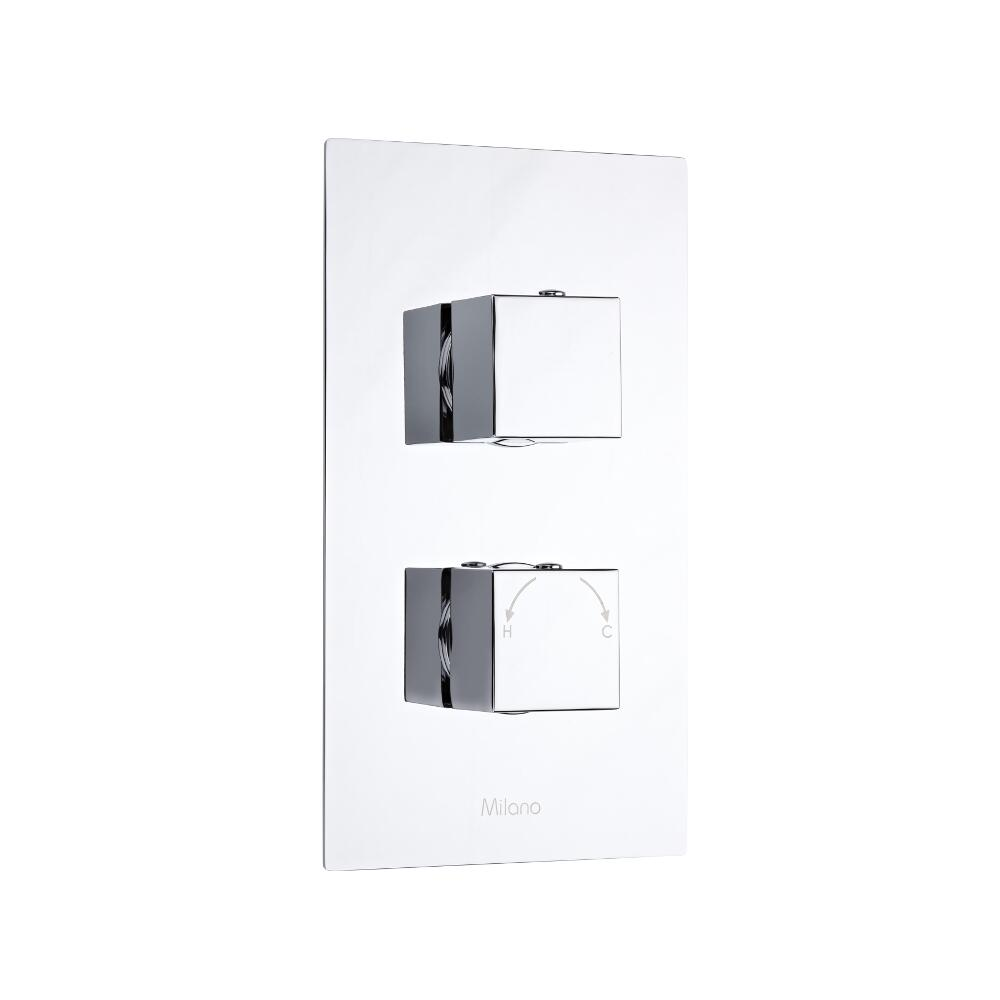 Milano Arvo Square Twin Diverter Thermostatic Shower Valve - 2 Outlets Standard Plate