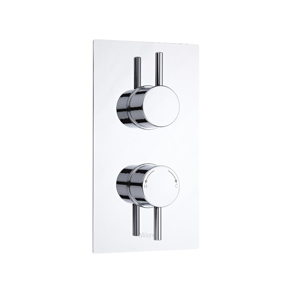 Milano Como Round Twin Diverter Thermostatic Shower Valve - 2 Outlets Standard Plate