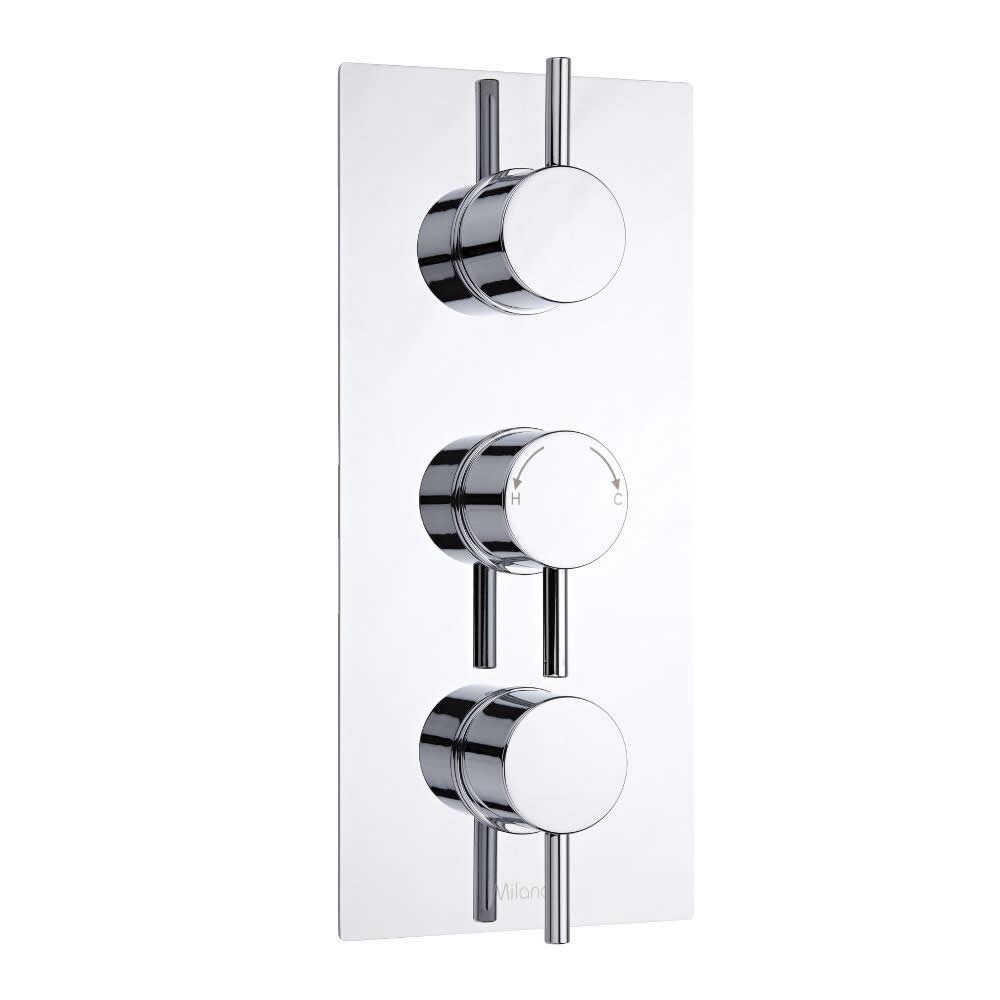 Milano Como Round Triple Thermostatic Shower Valve - 2 Outlets Standard Plate