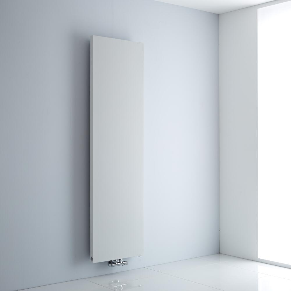 Milano Riso - White Flat Panel Central Inlet Vertical Designer Radiator 1800mm x 500mm