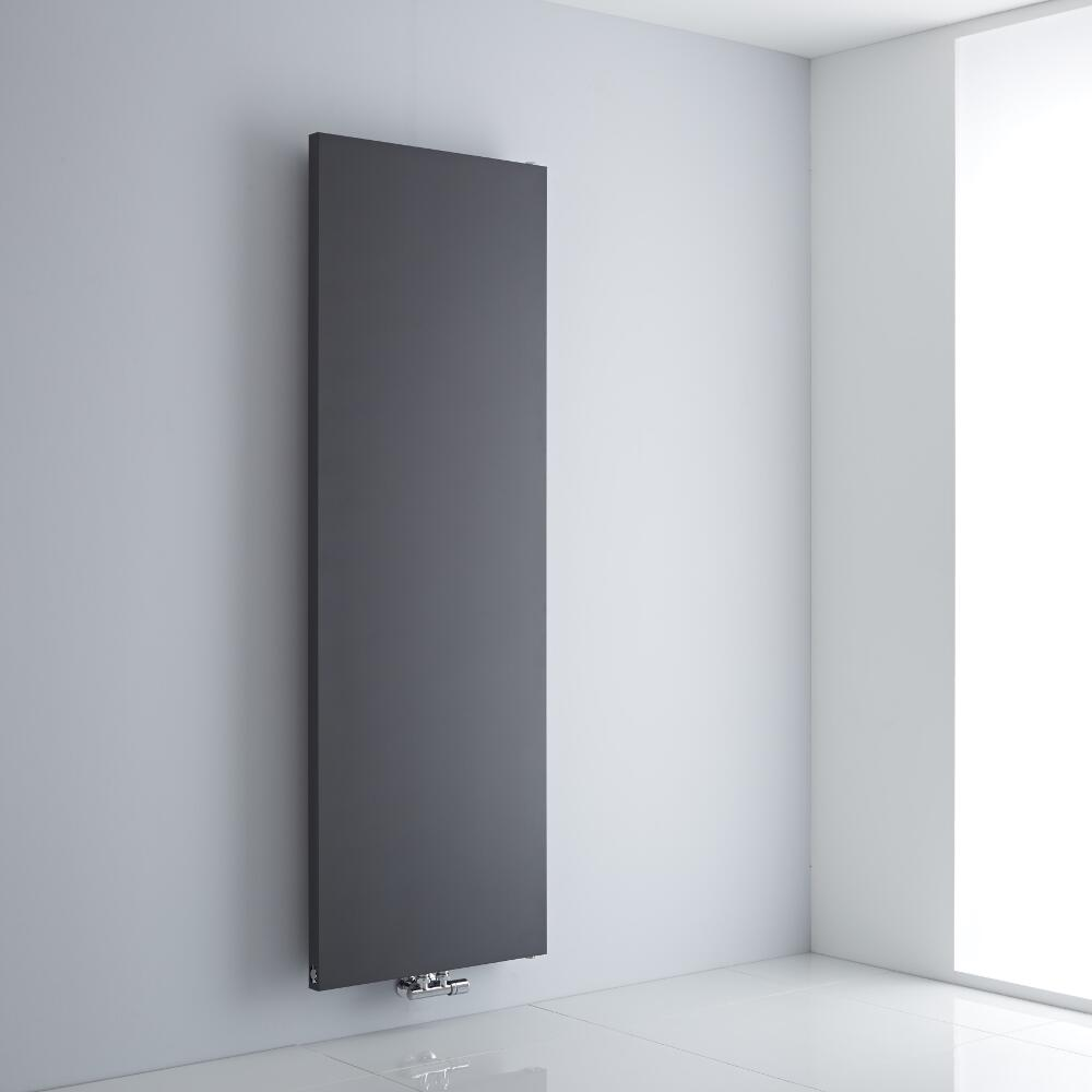 Milano Riso - Anthracite Flat Panel Central Inlet Vertical Designer Radiator 1800mm x 600mm