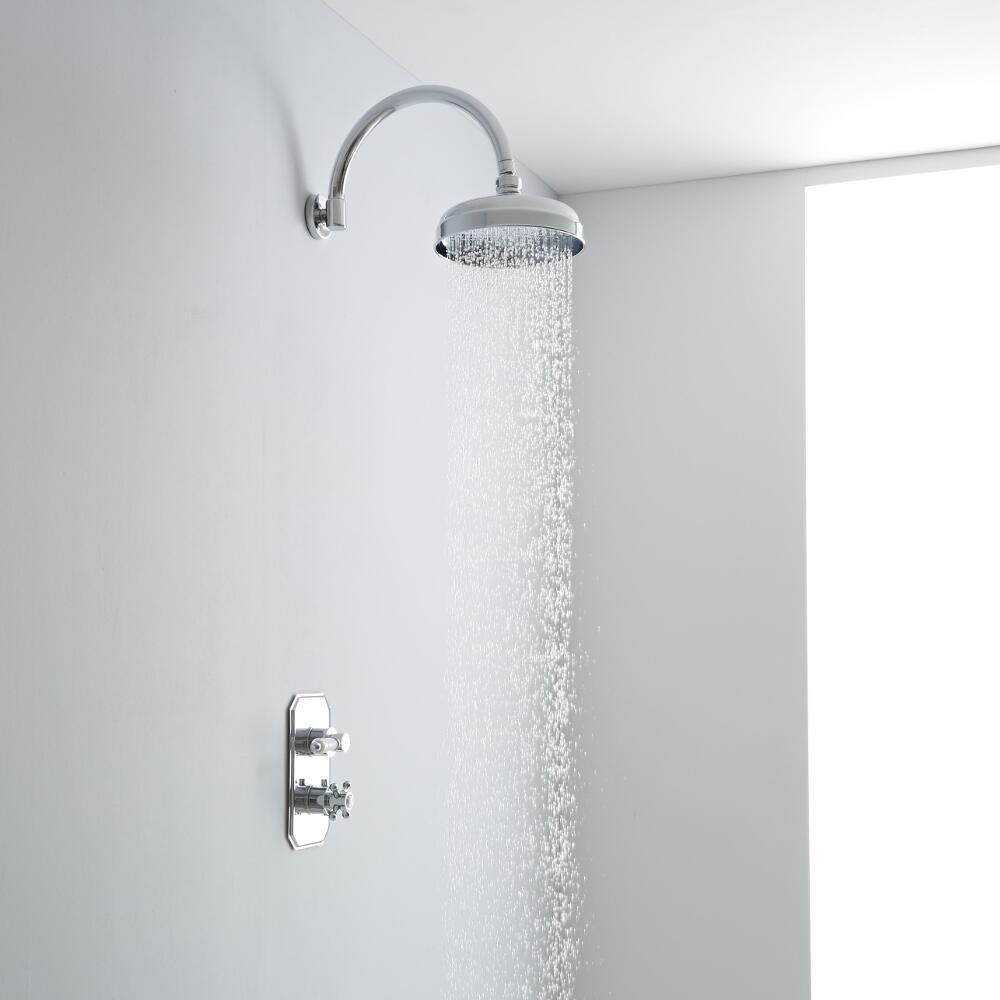 Milano Traditional Thermostatic One Outlet Shower with 200mm Apron Head & Curved Arm