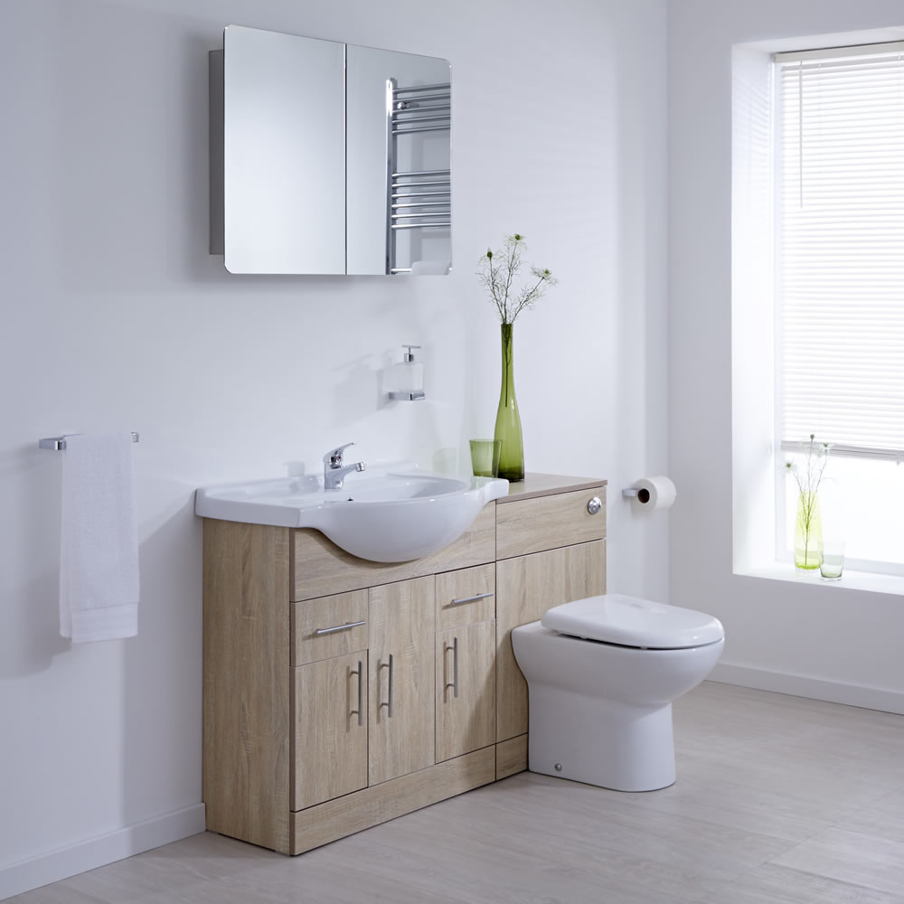 Milano 1340mm Classic Oak Vanity Combination Unit WC With Tap & Waste