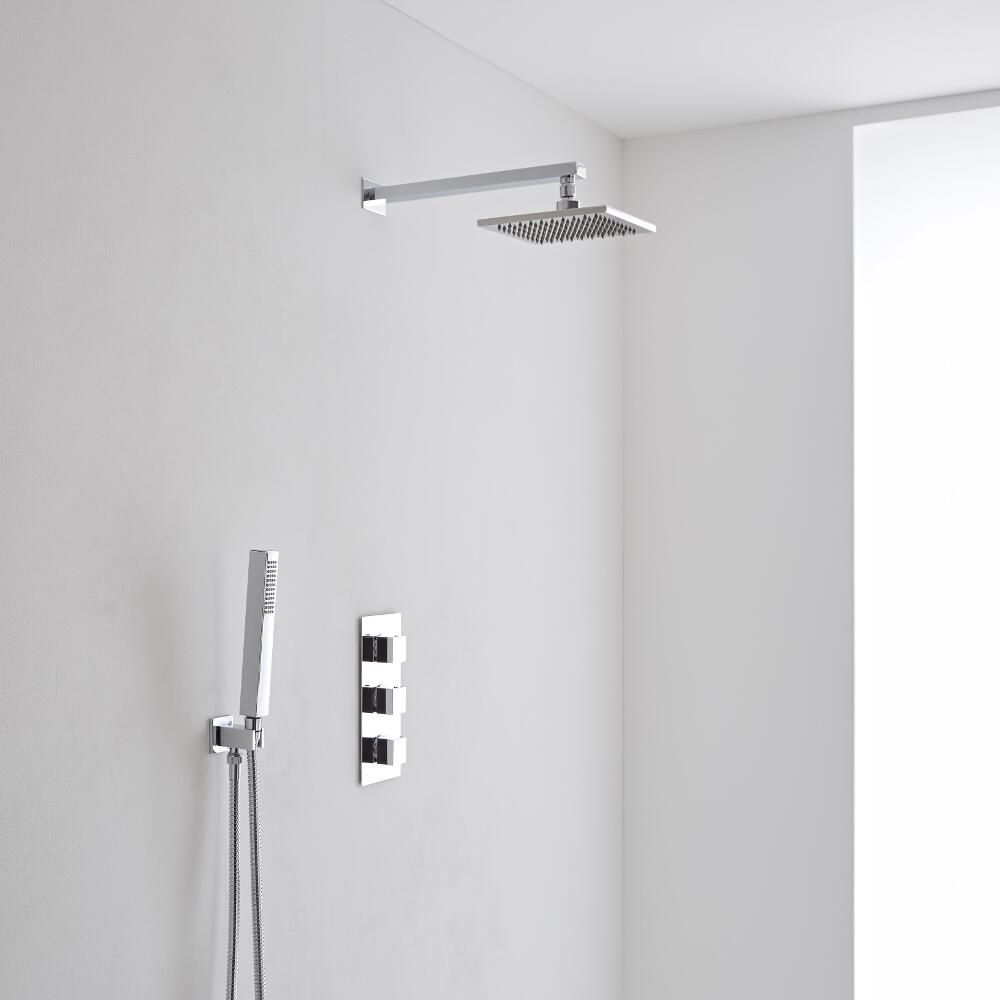 Milano Square Wall Mounted 200mm Triple Shower Valve