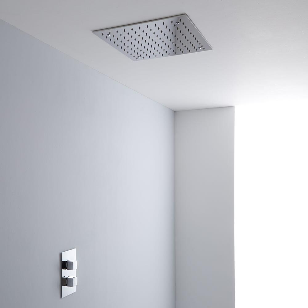 Milano 400mm Large Square Ceiling Tile Fixed Head & Thermostatic Shower Mixer Kit