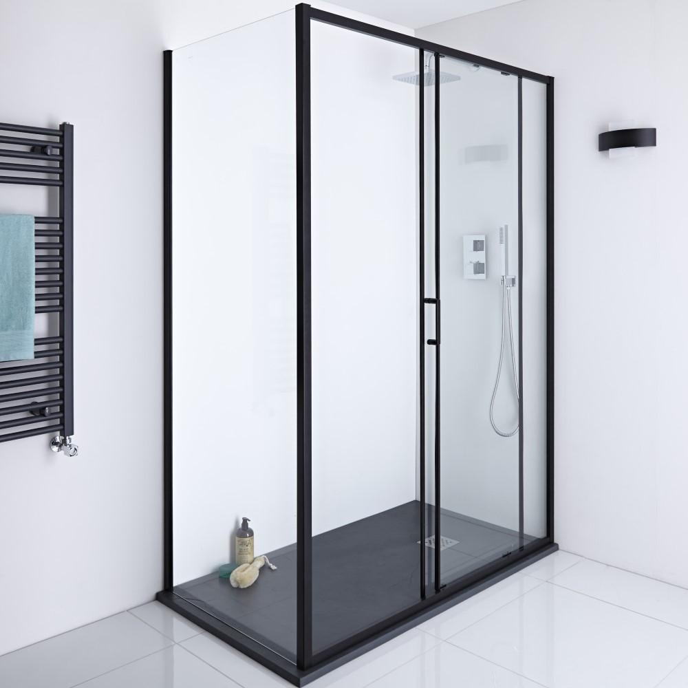 Milano Nero Shower Enclosure Side Panel Black - 800mm x 1950mm