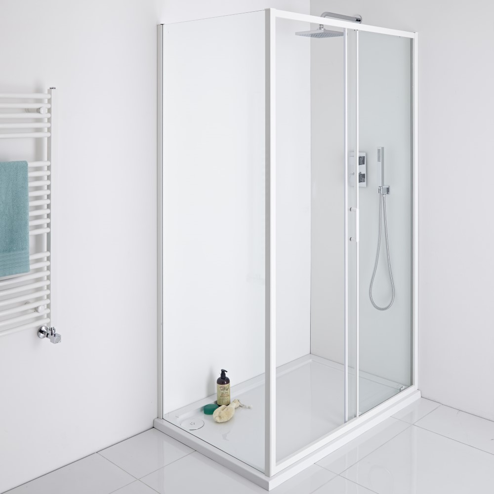 Milano Bianco Shower Enclosure Side Panel White - 760mm x 1950mm