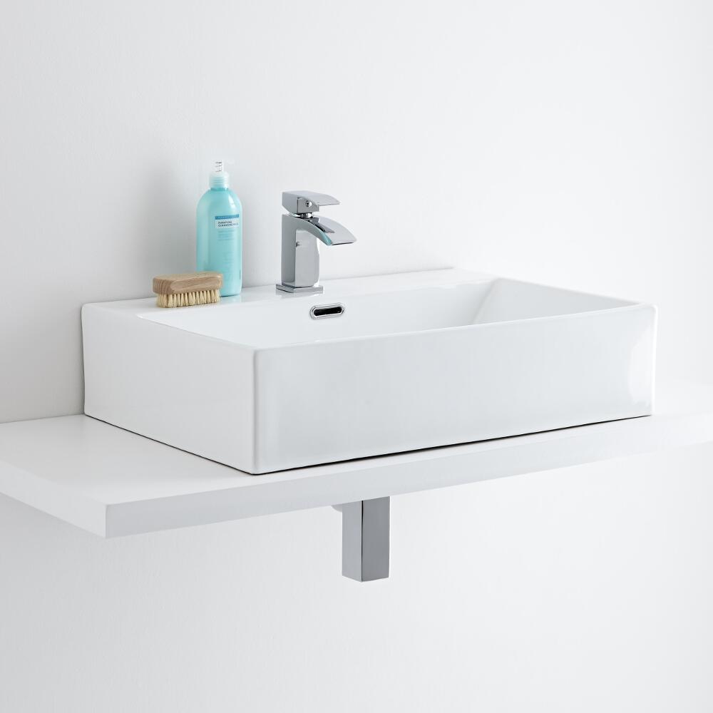 Milano Elswick - Rectangular Ceramic Countertop Basin 600 x 420mm