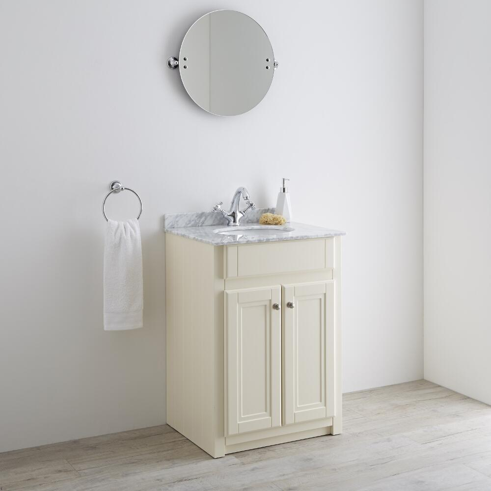 Milano Edgworth 600mm Traditional Vanity Base Unit - Ivory