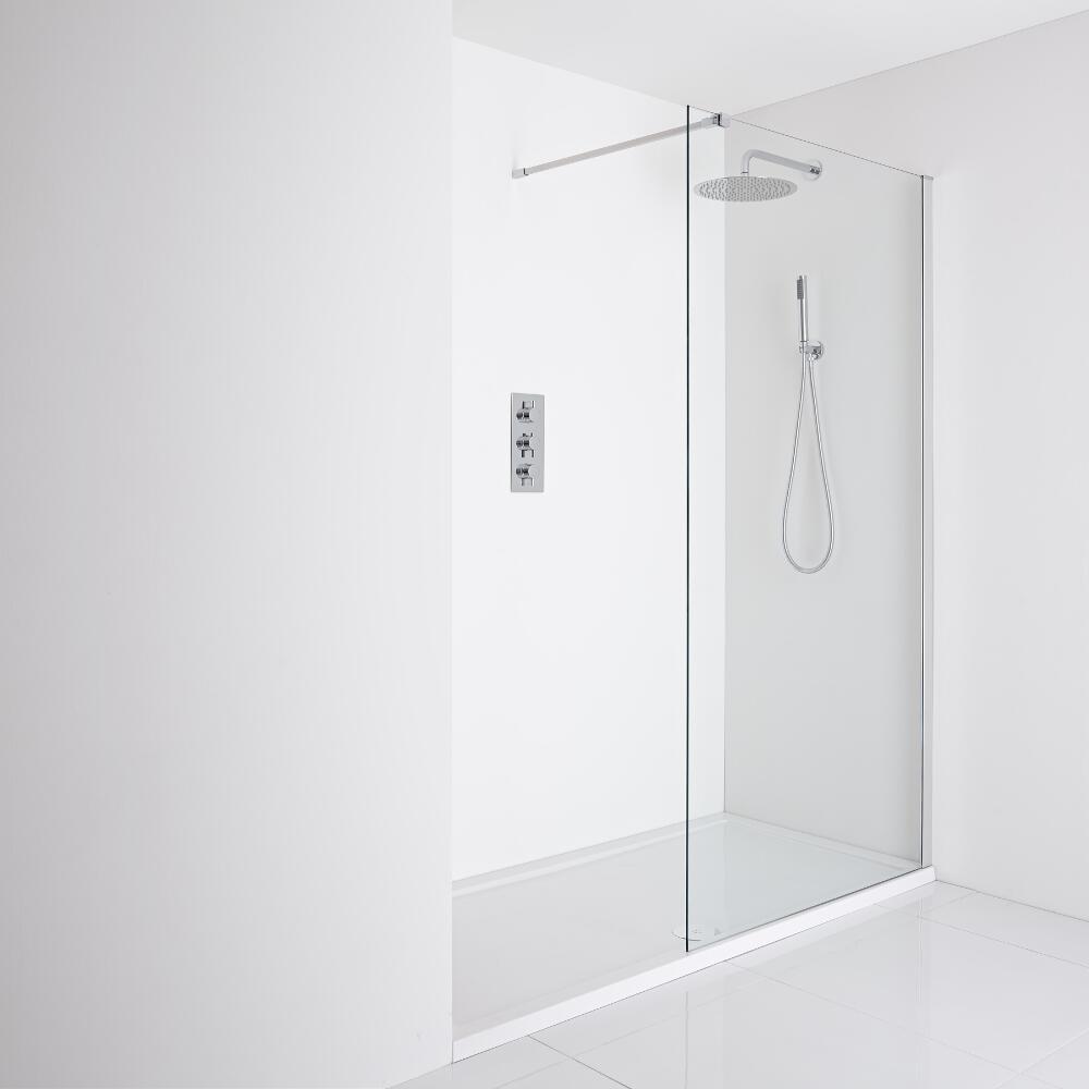 Milano Portland Recessed Walk-In Shower Enclosure (1600 x 700mm) - Inc. Tray