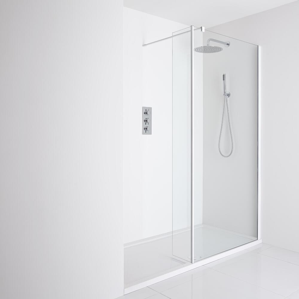 Milano Bianco Recessed Walk-In Shower Enclosure (1600 x 800mm) - Inc. Tray & Return Panel