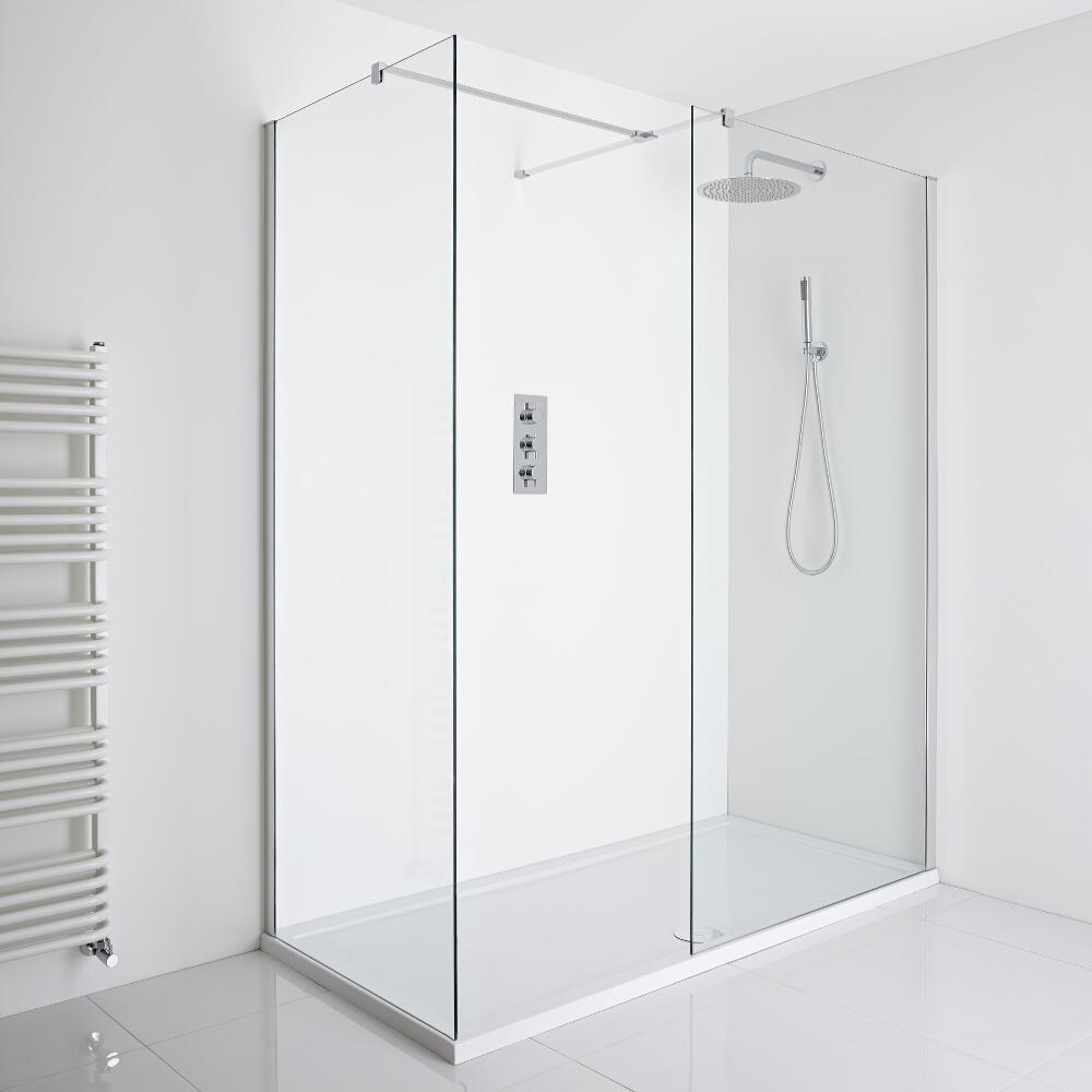 Milano Portland Corner Walk-In Shower Enclosure (1700 x 800mm) - Inc. Tray