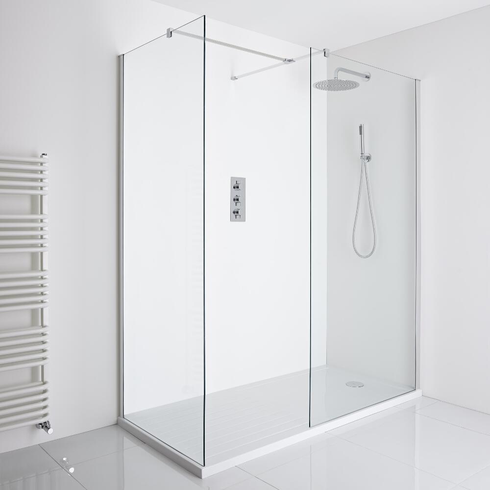 Milano Portland Corner Walk-In Shower Enclosure (1600 x 800mm) - Inc. Walk-in Tray