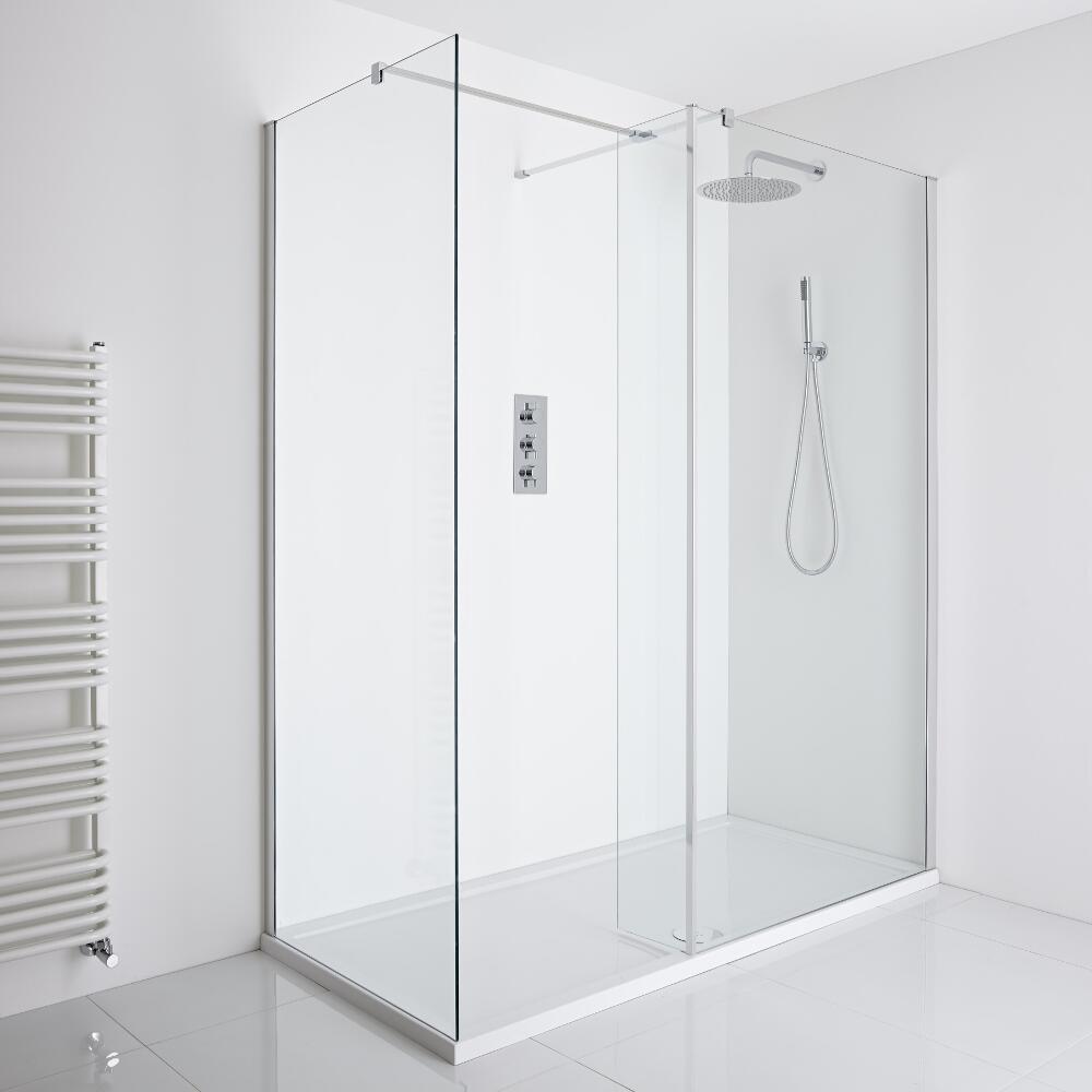 Milano Portland Corner Walk-In Shower Enclosure (1600 x 800mm) - Inc. Tray & Return Panel