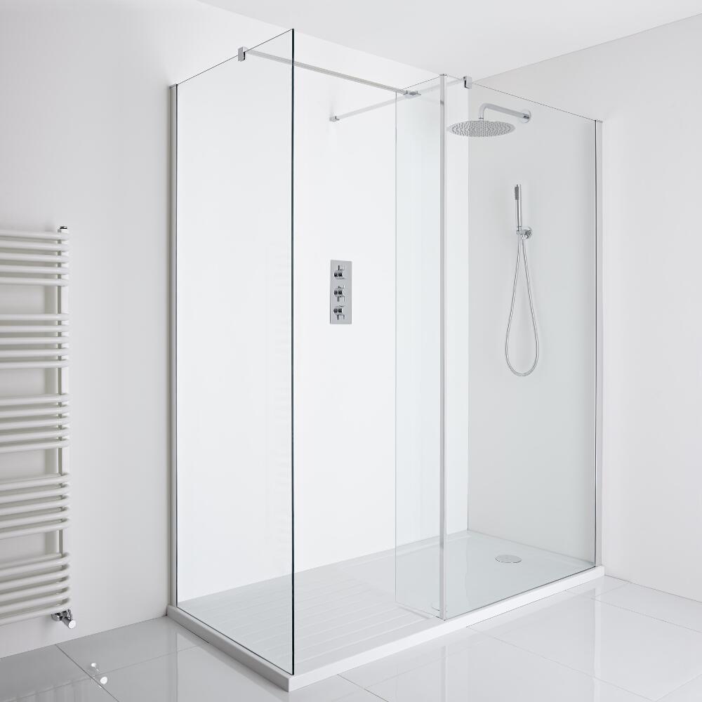 Milano Portland Corner Walk-In Shower Enclosure (1600 x 800mm) - Inc. Walk-in Tray & Return Panel