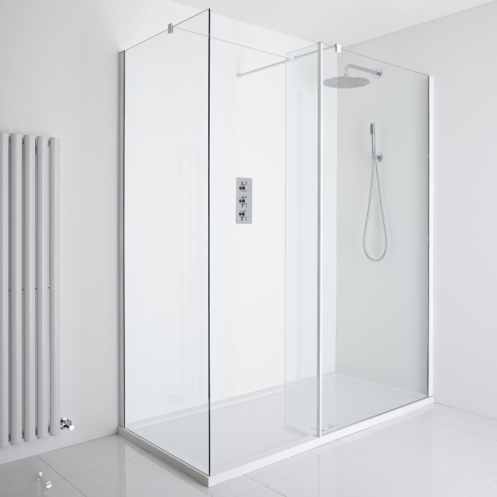 Milano Bianco Corner Walk-In Shower Enclosure (1600 x 800mm) - Inc. Tray & Return Panel