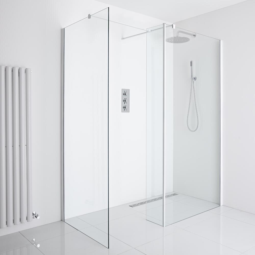 Milano Bianco Corner Wet-Room Shower Enclosure (1200mm x 800mm Glass) - Inc. Drain & Return Panel