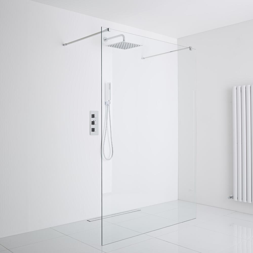 Milano Portland Floating Wet-Room Shower Enclosure (1000mm Glass) - Inc. Drain