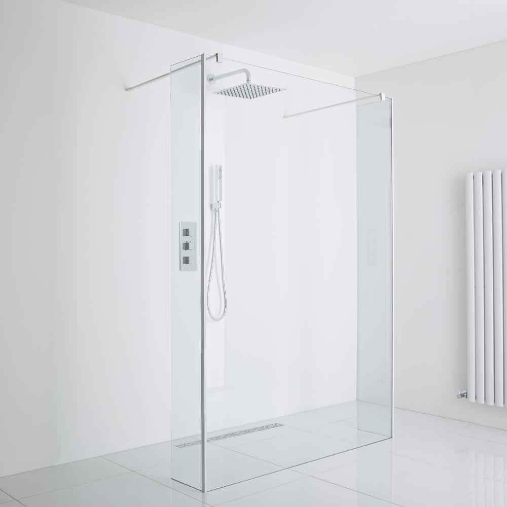 Milano Bianco Floating Wet-Room Shower Enclosure (1000mm Glass) - Includes Drain