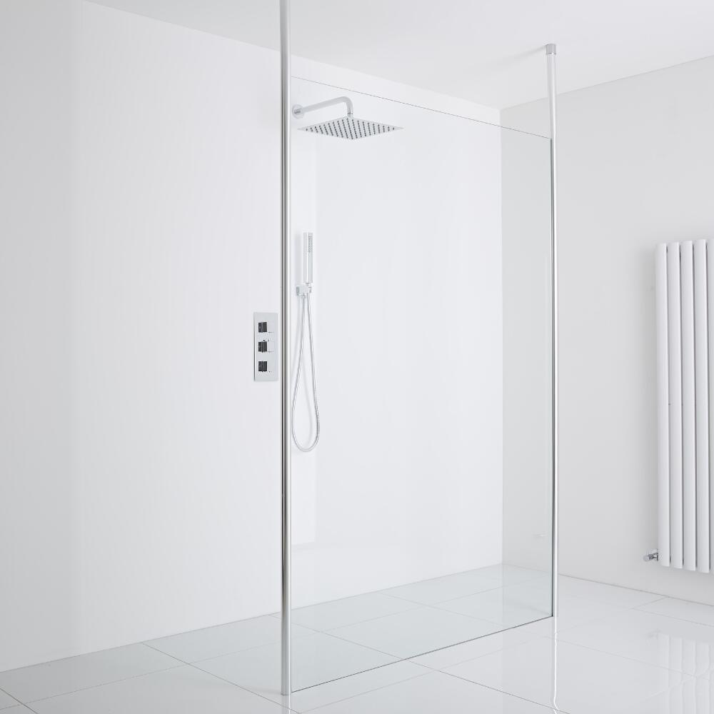 Milano Alto Floating Wet-Room Shower Enclosure (1200mm Glass) - Inc. Drain