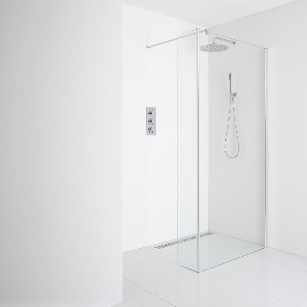 Milano Portland Recessed Wet-Room Shower Enclosure (1400mm Glass) - Inc. Drain & Return Panel
