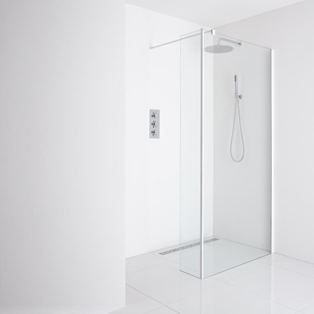 Milano Bianco Recessed Wet-Room Shower Enclosure (1200mm Glass) - Inc. Drain & Return Panel