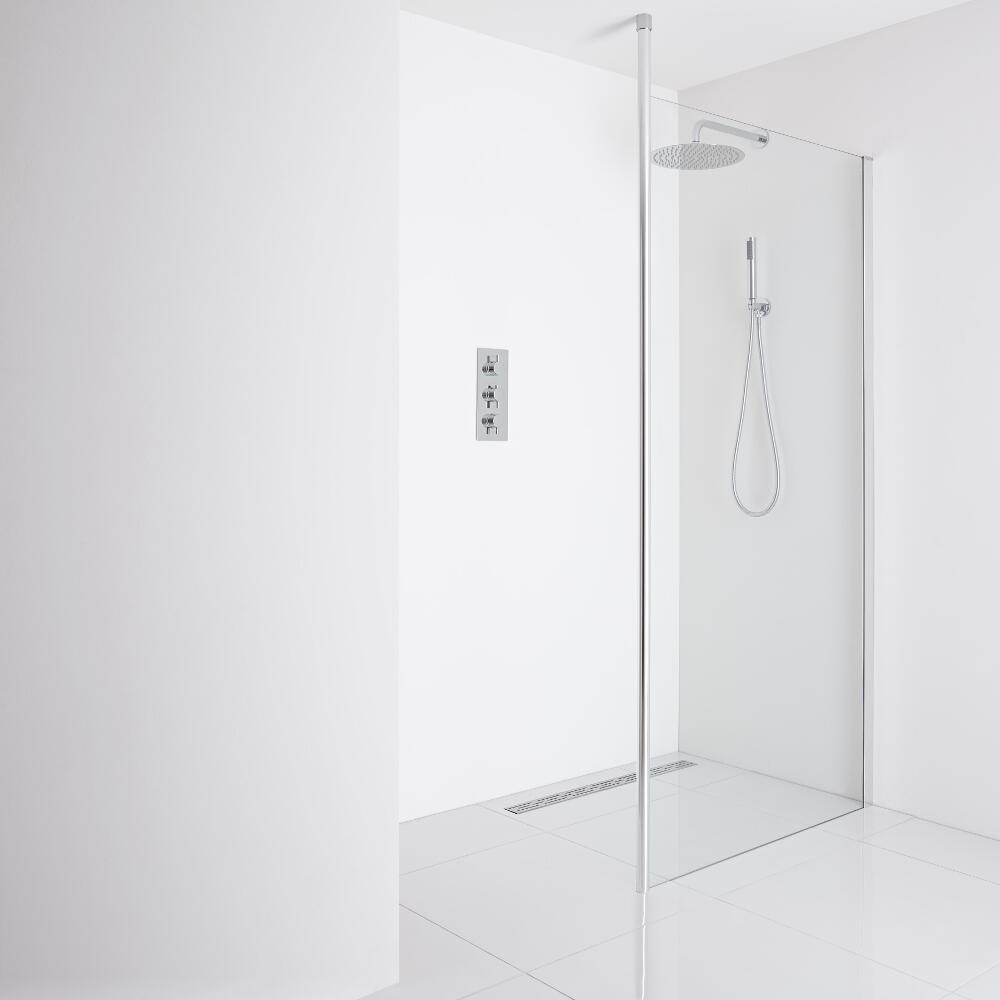 Milano Alto Recessed Wet-Room Shower Enclosure (900mm Glass) - Inc. Drain