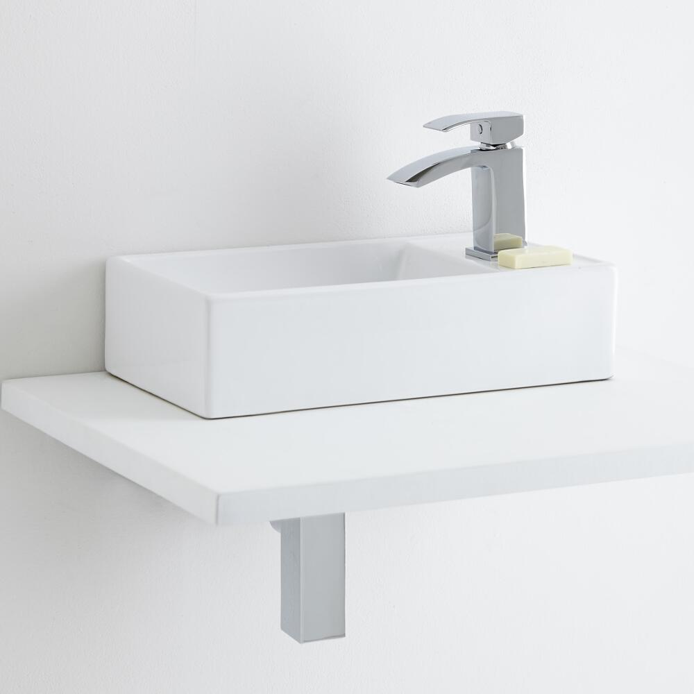 Milano Dalton Ceramic Countertop Basin with Milano Wick Mini Mono Basin Tap